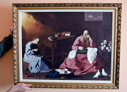 "Framed painting ""Christ and the Virgin in the House at Nazareth"" by Zurbaran"