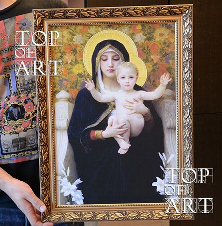 """Framed oil painting reproduction """"The Virgin of the Lilies"""" by Bouguereau"""