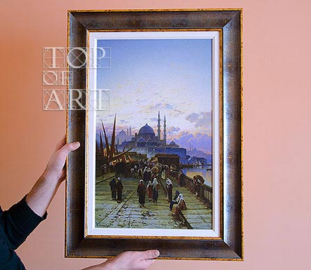 "framed painting ""The Galata Bridge, Constantinople"" by Corrodi"