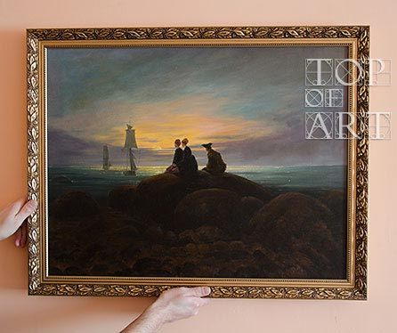 "framed painting ""The Moon Rising over the Sea"" by Caspar David Friedrich"