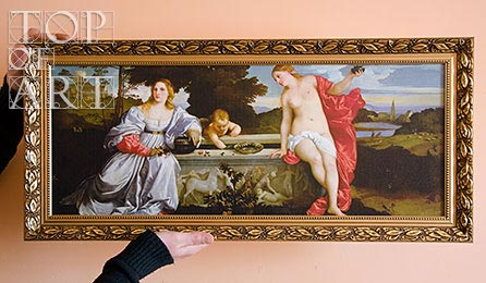 "framed painting ""Sacred and Profane Love"" by Titian"