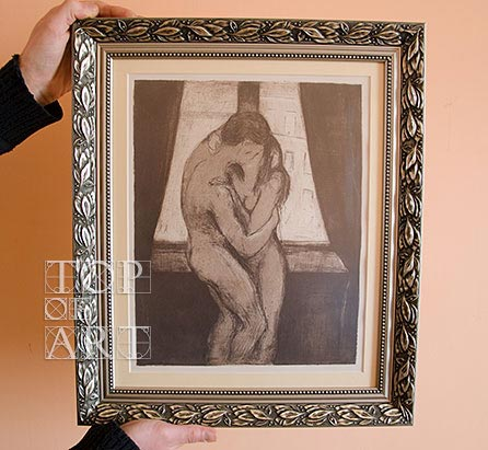 "framed painting ""The Kiss"" by Edvard Munch"
