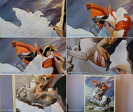 Napoleon Crossing the Alps by David - Painting Reproduction