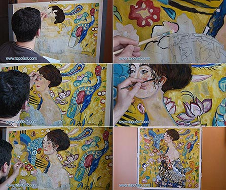 Lady with a Fan by Klimt - Painting Reproduction