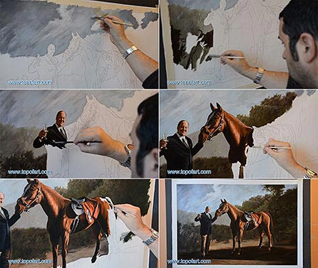 Process of Painting of Tony Soprano with Horse