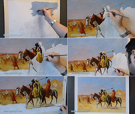 Arabs Crossing the Desert by Gerome - Painting Reproduction