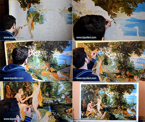 The Garden of Eden with the Fall of Man by Jan Bruegel and Rubens - Painting Reproduction