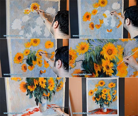 Bouquet of Sunflowers by Monet - Painting Reproduction