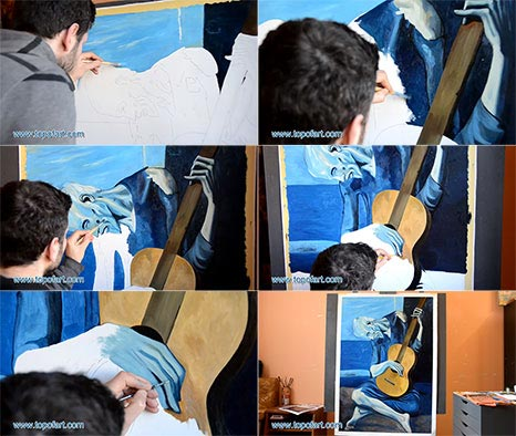 The Old Guitarist by Picasso - Painting Reproduction