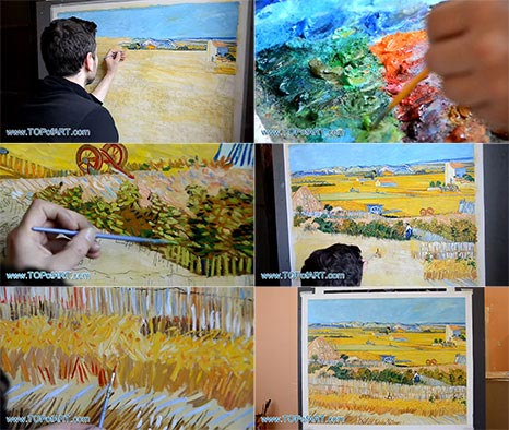 Harvest at La Crau by Vincent van Gogh - Painting Reproduction