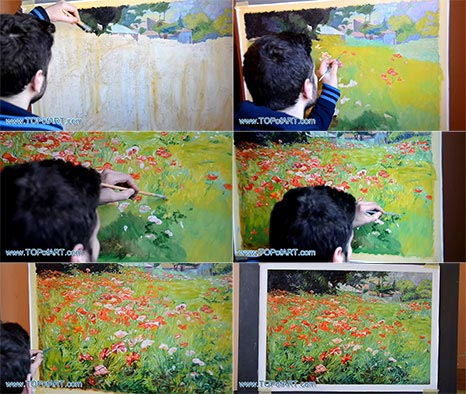 Poppy Field by John Ottis Adams - Painting Reproduction