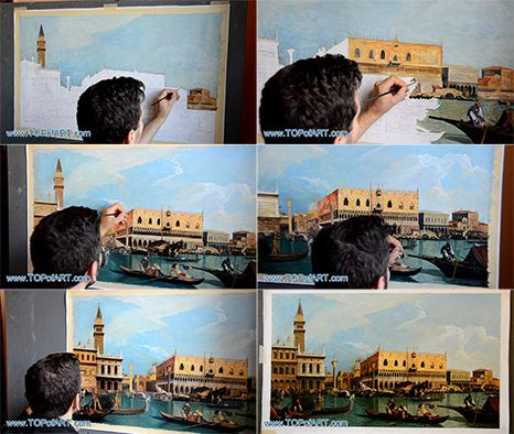 Piazzetta and the Doge's Palace by Canaletto - Painting Reproduction