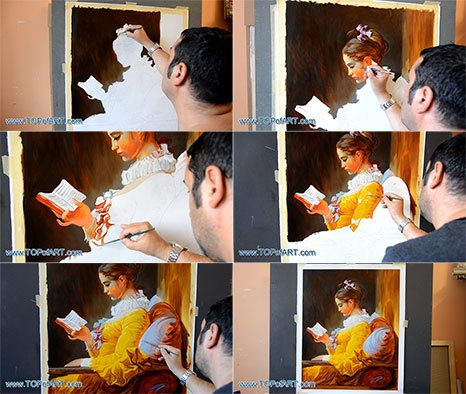 Young Girl Reading by Fragonard - Painting Reproduction