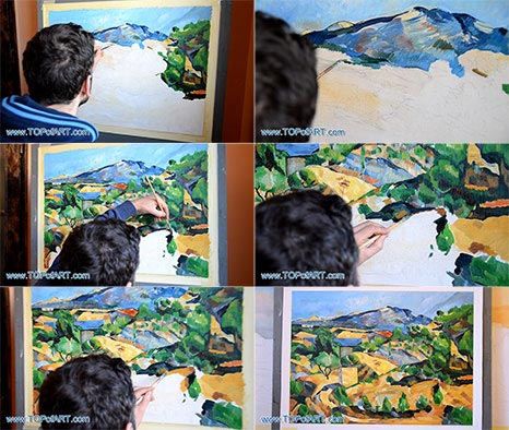 Mountains in Provence, L'Estaque by Cezanne - Painting Reproduction