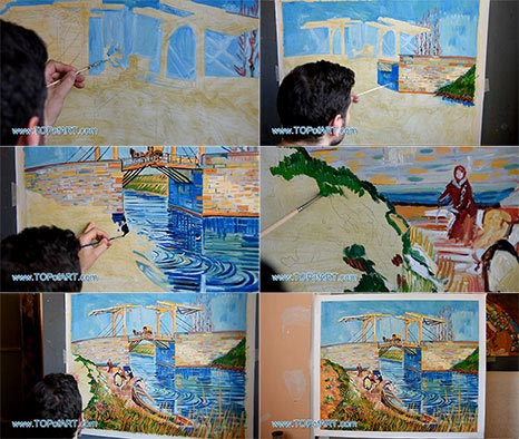 The Langlois Bridge at Arles by Vincent van Gogh - Painting Reproduction