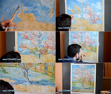 Pink Peach Tree in Blossom by van Gogh - Painting Reproduction