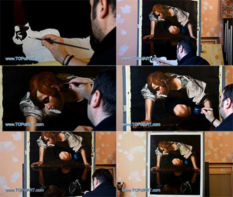 Narcissus by Caravaggio - Painting Reproduction