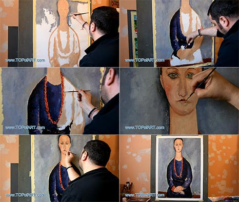 Woman with a Red Necklace by Modigliani - Painting Reproduction