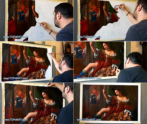 Portia Wounding Her Thigh by Sirani - Painting Reproduction