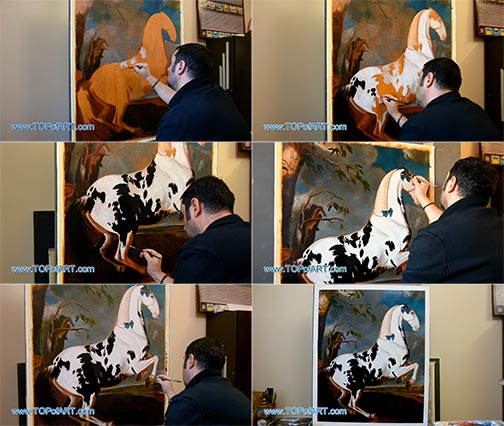 The Piebald Stallion at the Eisgruber Stud by Hamilton - Painting Reproduction